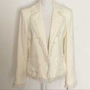 NWT-CABI-Cream Blazer with Fringe. Size 10
